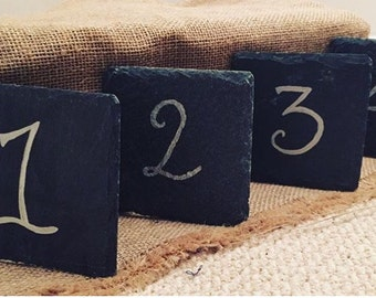 Wedding Table Numbers - Rustic Slate