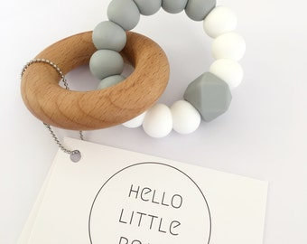CLASSIC Teether - Grey and White - Silicone Teether - Silicone bead and Beech Wood Teether - Wooden Teether - Teething ring