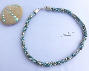short round turquoise and graufarbene seed beads with drop beads necklace set