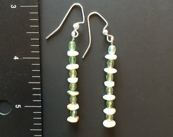 Clear green and ivory beaded earrings