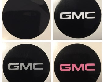 8pc GMC Center Cap Vinyl Sticker Decals Overlay W/ Background Circles