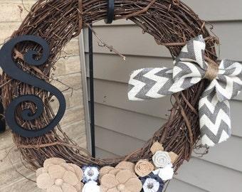 Burlap shabby chic wreath