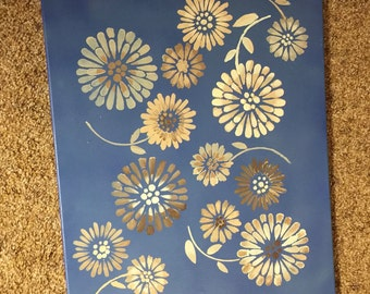 Brown Flowers on Blue Background