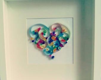 "Quilling paper art design: ""Love is..."""