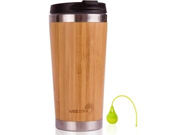 15 Oz Elegant Bamboo Coffee or Tea Travel Mug (Thermos) | Reusable, Lightweight, Eco Friendly| Leak-Proof Lid