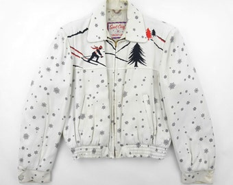 1950s Sport Chief Skier and Snow Flake Pattern Rayon Gabardine Ricky Jacket Size 40 - Excellent / Very Good