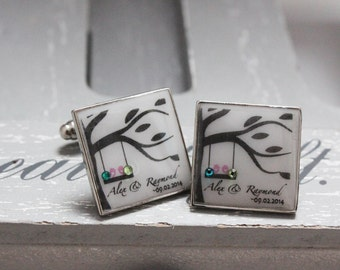 Personalised Your Unforgettable Moments Cufflinks with Swarovski Crystal