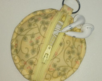 Yellow earbud pouch, yellow coin purse, yellow chapstick holder