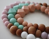 Silicone Baby Teething TRIO Necklace - Teether - Mom, Modern Nursing Necklace, Chewlery, Teether Chewing Beads, Chew Jewelry Beads