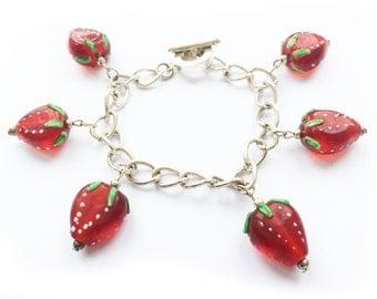 Strawberry charm bracelet