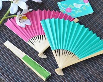 Colored paper fans-set of 12-wedding favors, bridal shower favors, wedding guest favors