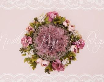 Newborn Digital Backdrop (flower/nest/peonies/feather)