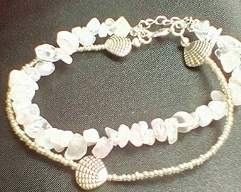 rose quartz and silver sea shell anklet beach summer jewellery