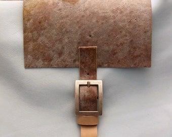 Handmade bag stone and leather.