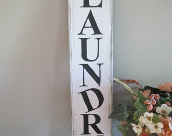 Rustic Wood Sign, Laundry Room Sign, Wood Laundry Sign, Rustic Laundry Sign, Black, White