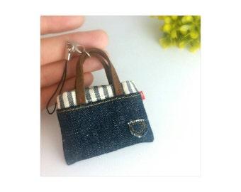 Handmade miniature denim bag with removable strap
