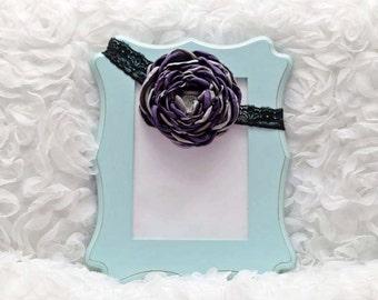 Purple/Grey Satin Flower Headband, Flower Headband, Satin Flower, Hair Accessory, Baby/Girl Flower Headband, Ready to Ship