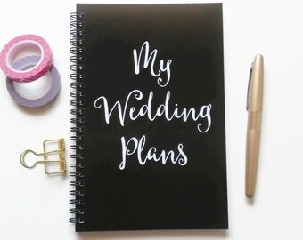 Writing journal, spiral notebook, sketchbook, bullet journal, black and white, blank lined or grid paper, engagement gift - My wedding plans
