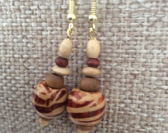 Ethnic looking natural coloured wooden bead drop earrings