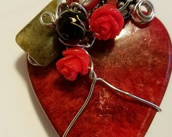 Shades of Red Heart Wire/ Beaded Pendant