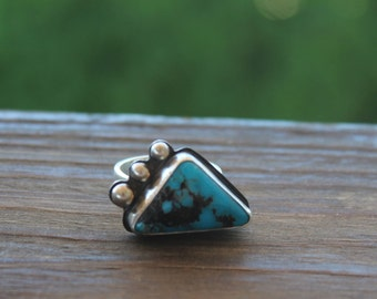 Sterling Silver Nacozari Turquoise Ring, Sterling Turquoise Ring, Unique Turquoise Ring, Triangle Turquoise Sterling Ring, Sale