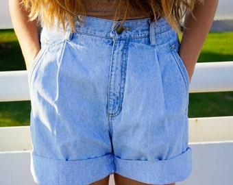 90's Light Wash Cuffed Shorts