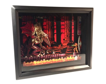 Super Metroid Shadow Box 8-Bit SNES Classic Video Game 8x10 Frame Retro Gaming - Geek Gift - Wedding Favor - Groomsman Gift - Birthday Gift