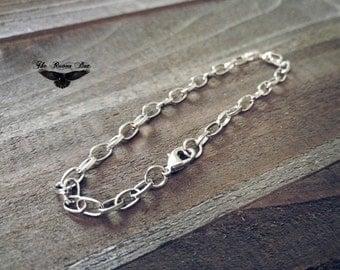 """Charm Bracelet Antiqued Silver Link Bracelet Chain 7.5""""-8"""" Blank Charm Bracelet Wholesale Bracelet"""