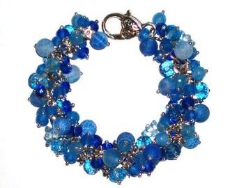 Dark Blue Bracelet Dark Blue Jewelry Women's Bracelet Aquamarine Bracelet  Beaded bracelet Handmade Bracelet Charm Bracelet Gift for Her