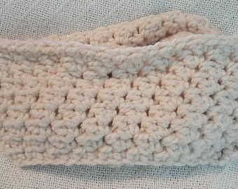 Crochet Infinity Scarf Off-White Teen/Adult