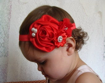 Red Baby Headband red elastic Toddler Headband Flower Baby Headband Infant Head Bands Headband Head Bands For Babies Headbands Baby Bows