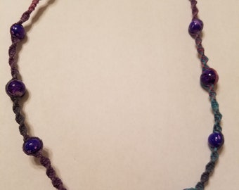 Teal/Blue/Purple/Pink Hemp Necklace with Purple/Pink Glass Beads