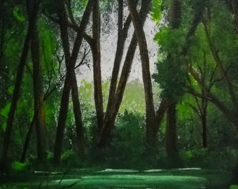 Original Art Landscape of Forest, Original Canvas Forest Wall Decor, Forest Landscape Wall Art, Forest Painting Wall Hanging, Home Decor
