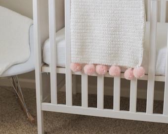 Hand Crocheted PomPom Blanket