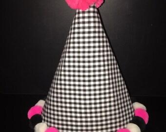 Birthday Girl POM Hat - Black Gingham