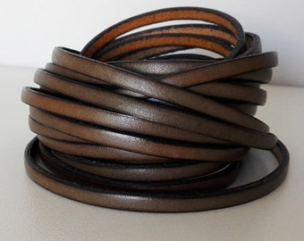 Kaki leather band 5mm sold by 50cm