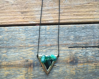 Green agate stone triangle necklace