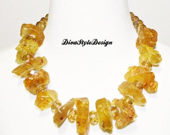 Chunky Raw Honey Colored Baltic Amber and Crystal Necklace