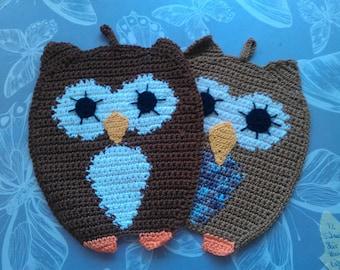 """Crochet motif pot holder """"Owls"""", 2 pieces"""