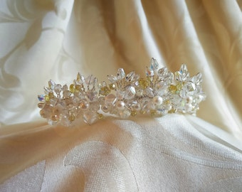 Crystal and Freshwater pearl flower garland tiara or choker