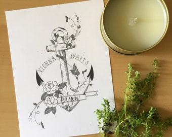 Vienna Waits For You / Floral Anchor Handmade Art Print / Wall Art / Lyric Print / Billy Joel Art Print / Any Occasion