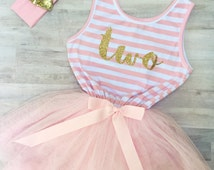 Second Birthday Outfit Girl Dress Pink Striped / Gold Letter Two / Toddler Tutu Dress / 2nd Birthday Dress / Cake Smash Outfit