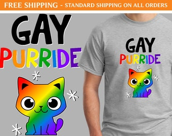 Gay Purride Cat Shirt - Free Shipping, LGBTQ Shirt, Gay Pride Shirt, Rainbow Shirt, Cat Shirt, Cute Shirt, Festival Shirt, Parade Shirt