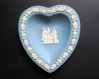 Wedgwood Blue Jasperware Heart Shaped Dish/Plate - Holy Procession Design