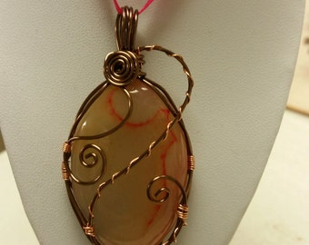 Wire wrapped Agate gemstone cabachon pendant