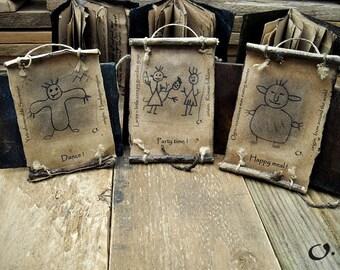 Yeti, Lares, Ogre-Mythology greeting cards,gift cards,invitation scrolls,greeting cards,recycled cards,funny greeting cards,handmade,scrolls