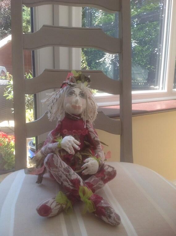 Fleur, a OOAK handmade fabric fairy doll