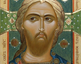 Orthodox icon Jesus Christ Golden Hair - copy of the ancient Russian icons 12-13 century. Спас Златые Власы копия русской иконы 12-13 в.