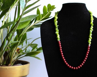 RED GREEEN  beaded NECKLACE ,gift for her , indian traditional combo , ethnic jewelery , jewelery collection ,handmade ,long