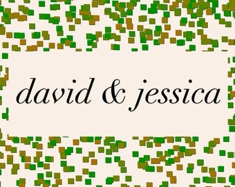Confetti Personalized with 2 names in 3 color choices